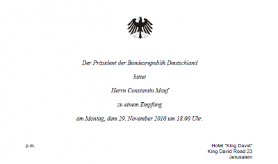 Meine Einladung zum Empfang mit dem Bundespräsidenten
